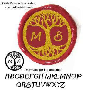 Personalizado con TU diseño - Sello Lacre 3 cms. Árbol de la vida con iniciales
