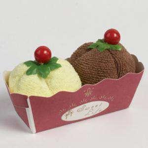 Prácticos mujer - 2 toallitas forma de helado vainilla y chocolate