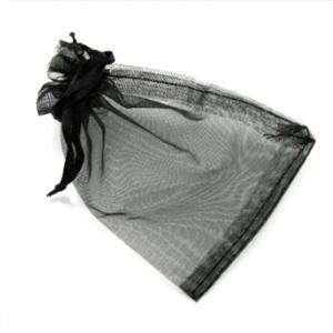 Imagen Tamaño 07x09 cms Bolsa de organza Negra 7x9 - capacidad 7x7.5 cms.