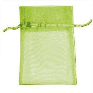 Imagen Tamaño 07x09 cms Bolsa de organza Verde 7x9 - capacidad 7x7.5 cms.
