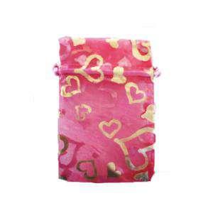 Imagen Tamaño 09x12 cms. Bolsa de Organza Estampada 9x12 cm - FUCSIA CON CORAZONES DORADOS
