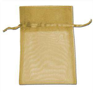 Imagen Tamaño 09x12 cms. Bolsa de organza Dorada 9x12 capacidad 9x9 cms.