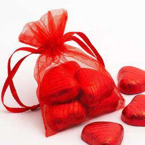 Imagen Tamaño 09x12 cms. Bolsa de organza Roja 9x12 capacidad 9x9 cms.