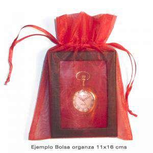 Imagen Tamaño 11x16 cms. Bolsa de organza Marrón 11x16 capacidad 11x14 cms.
