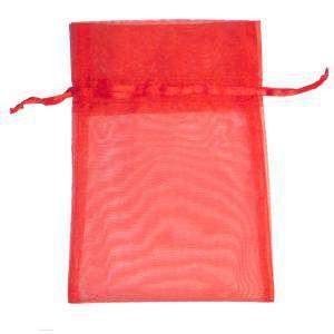 Imagen Tamaño 11x16 cms. Bolsa de organza Roja 11x16 capacidad 11x14 cms.