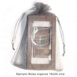 Imagen Tamaño 15.5x24 cms. Bolsa de organza Blanca 15,5x24 capacidad 15x20 cms.