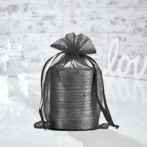 Tamaño 15.5x24 cms. - Bolsa de organza Negra 15,5x24 capacidad 15x20 cms.