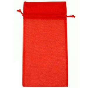 Tamaño 15x36 cms. - Bolsa de organza Roja 15x36 capacidad 15x31 cms.