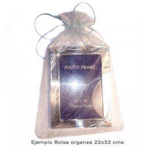 Imagen Tamaño 22x32 cms. Bolsa de organza Gris Plata 22x32 capacidad 21x30 cms.