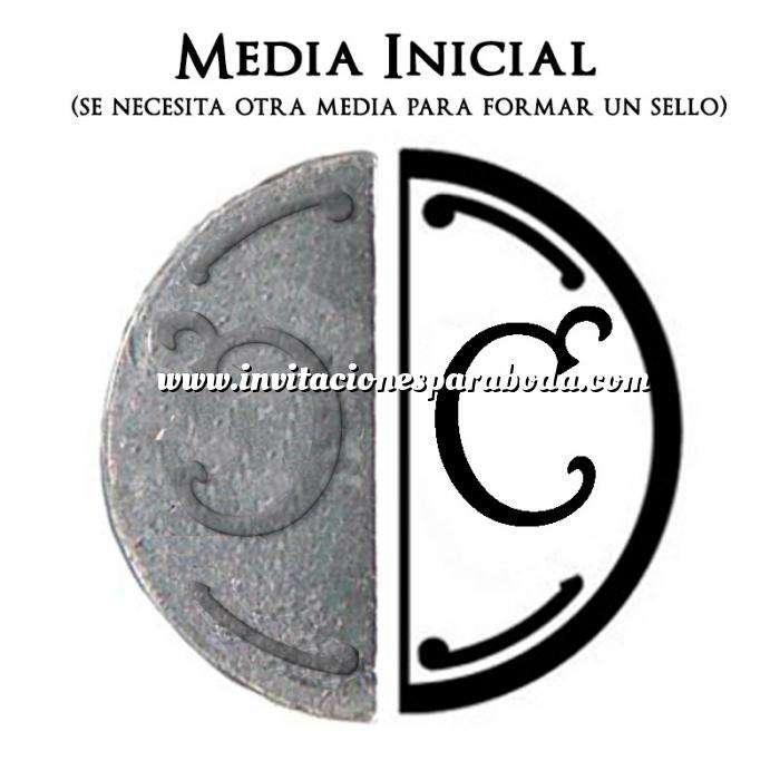 Imagen 2 Iniciales Intercambiables Placa Media Inicial C para sello vacío de lacre
