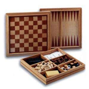 Ajedrez y damas - Caja Ajedrez - Damas - Backgammon en madera