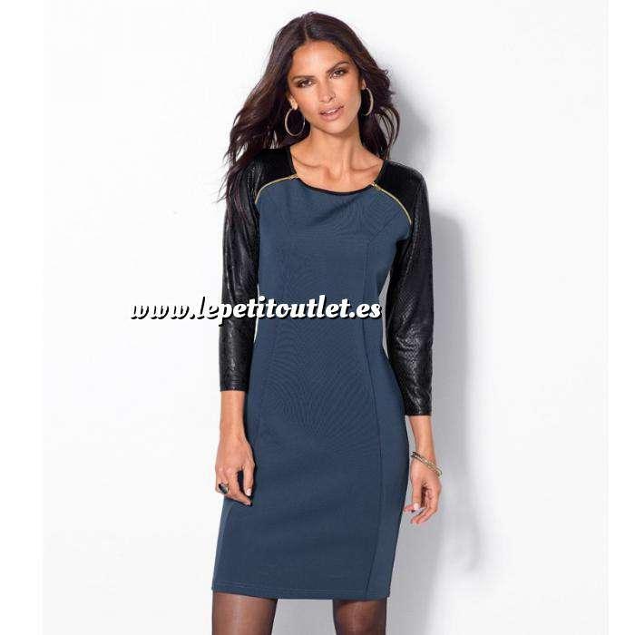 Imagen Talla 40-42 (L) Vestido de manga francesa con cremalleras Color Azul noche/Negro Talla L (Ref.008779) (Últimas Unidades)