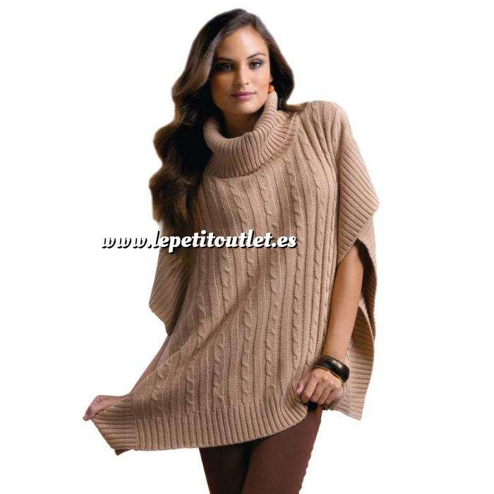 Imagen Talla 42-44 (M) Poncho tricot con trenzas Color marrón claro Talla M (Ref.089712) (Últimas Unidades)