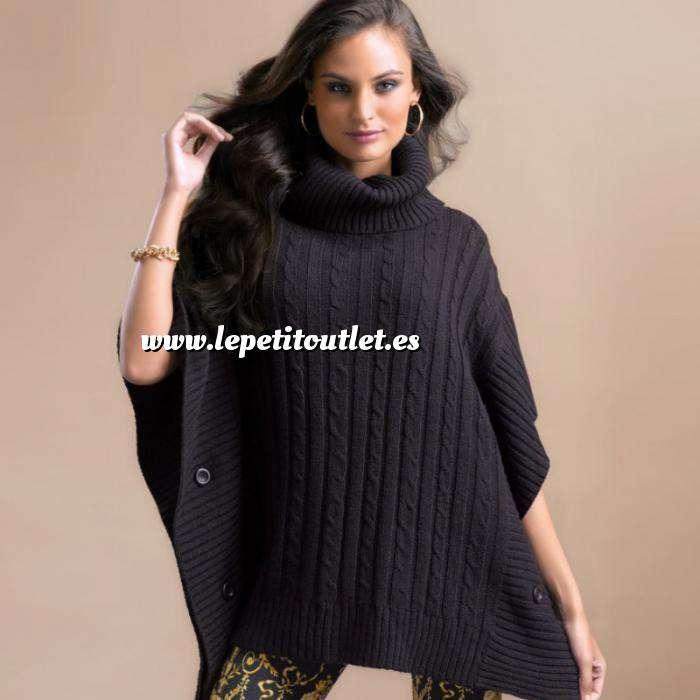 Imagen Talla 42-44 (M) Poncho tricot con trenzas Color negro Talla M (Ref.089707) (Últimas Unidades)