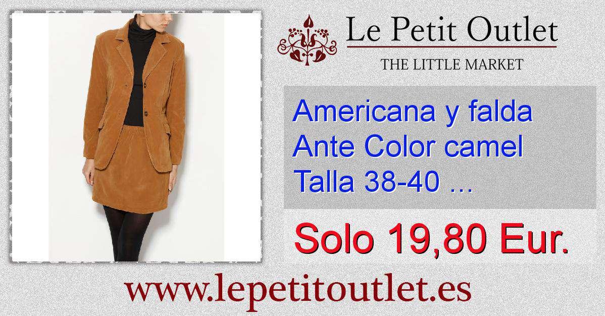 56ecb1ac Americana y falda Ante Color camel Talla 38-40 (Ref.000224) ...