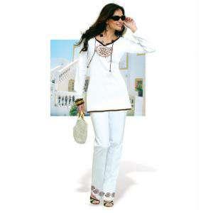 Talla 36-39 (M) - Conjunto de túnica y pantalón Color blanco Talla 38-40 (Ref.071132) (Últimas Unidades)