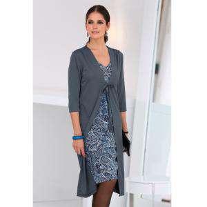 Talla 36-39 (M) - Vestido Efecto doble con chaqueta Color azulado Talla M (Ref.098952) (Últimas Unidades)