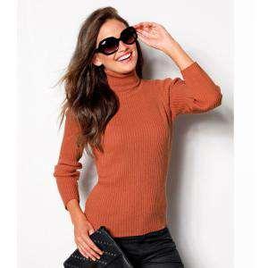 Talla 38-40 (S) - Jersey de tricot con cuello cisne Color calabaza Talla 34 (Ref.056970) (Últimas Unidades)