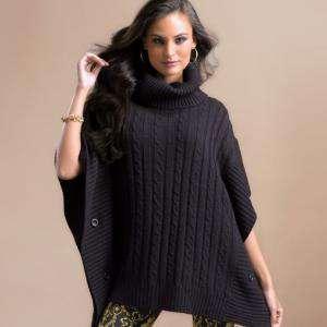 Talla 42-44 (M) - Poncho tricot con trenzas Color negro Talla M (Ref.089707) (Últimas Unidades)
