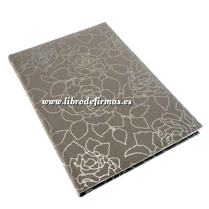 Imagen Floral Libro de Firmas ROSAS Gris Berenjena (Últimas Unidades)