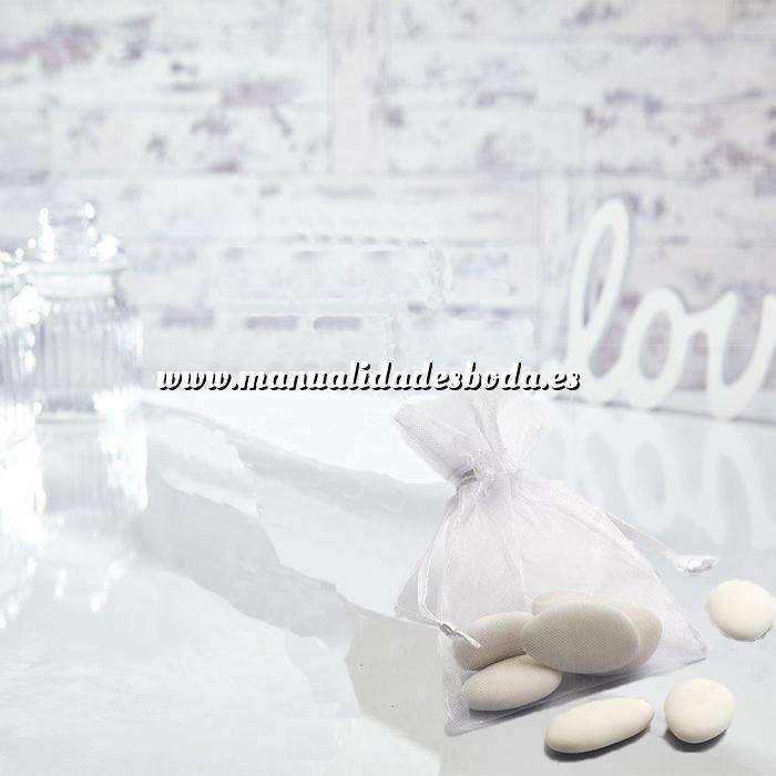 Imagen Tamaño 09x12 cms. Bolsa de organza Blanca 9x12 capacidad 9x9 cms.