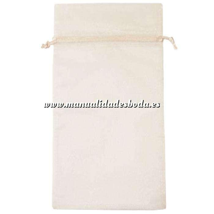 Imagen Tamaño 15x36 cms. Bolsa de organza Blanca 15x36 capacidad 15x31 cms.