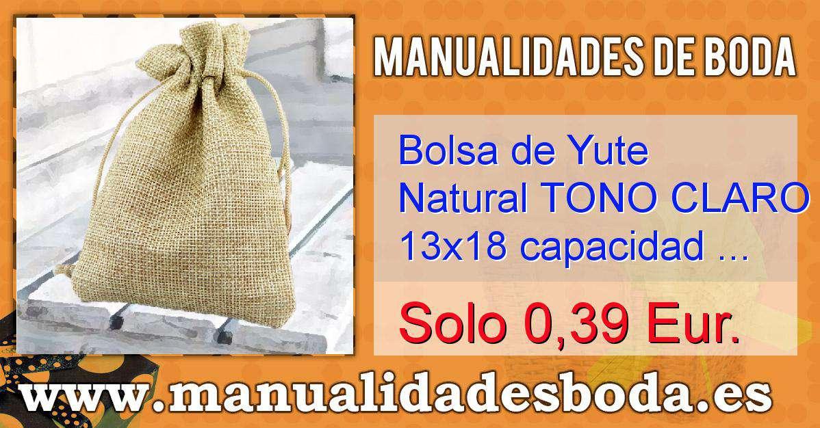 66cdbaf5a Bolsa de Yute Natural TONO CLARO 13x18 capacidad 12x15 cms.