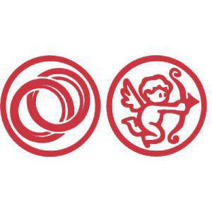 2 Iniciales Intercambiables - Placa para Sello vacío Anillos / Cupido (71203)