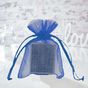 Tamaño 12x14 cms. - Bolsa de organza Azul Francia 12x14 capacidad 11x11 cms.