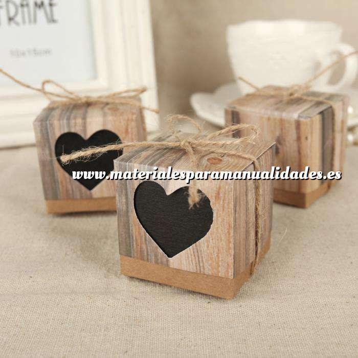 Imagen Cajitas para regalo Cajita Boda - Imitación madera y kraft con corazón transparente