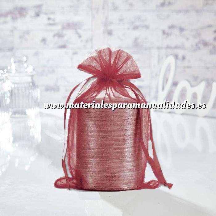Imagen Tamaño 15.5x24 cms. Bolsa de organza Burdeos 15,5x24 capacidad 15x20 cms.