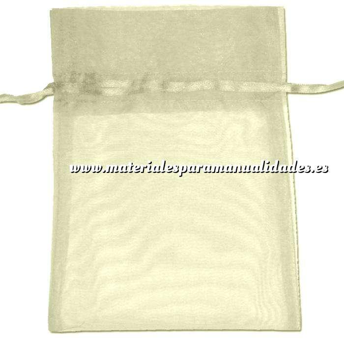 Imagen Tamaño 22x32 cms. Bolsa de organza Crema o Beige 22x32 capacidad 21x30 cms.