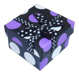 Cajitas para regalo - Cajita para anillos o regalitos - negra y lunares morado y blanco