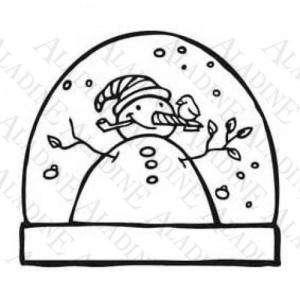 Decorativos - Sello de Caucho - Bola Navideña con un muñeco de nieve (01350) (Últimas Unidades)