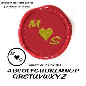 Personalizado con TU diseño - Sello Lacre 2.5 cms. Corazón con iniciales