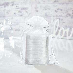 Tamaño 15.5x24 cms. - Bolsa de organza Blanca 15,5x24 capacidad 15x20 cms.