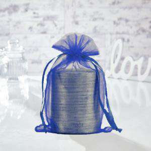 Tamaño 15.5x24 cms. - Bolsa de organza Marino 15,5x24 capacidad 15x20 cms.