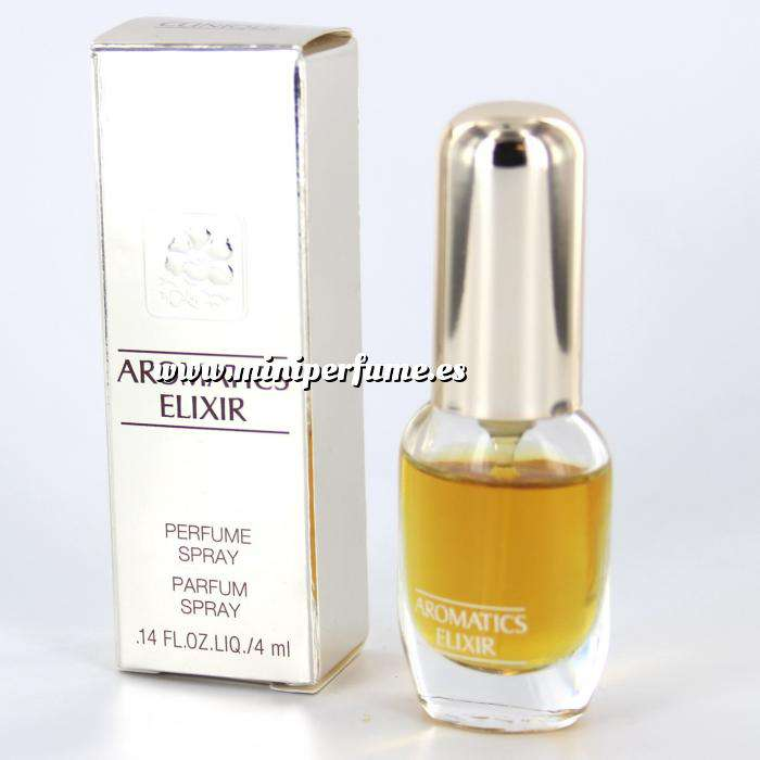 Imagen -Mini Perfumes Mujer Aromatics Elixir (CAJA PLATEADA ESPEJO - DETERIORADA) Perfume Spray by Clinique 4ml. (Últimas Unidades)