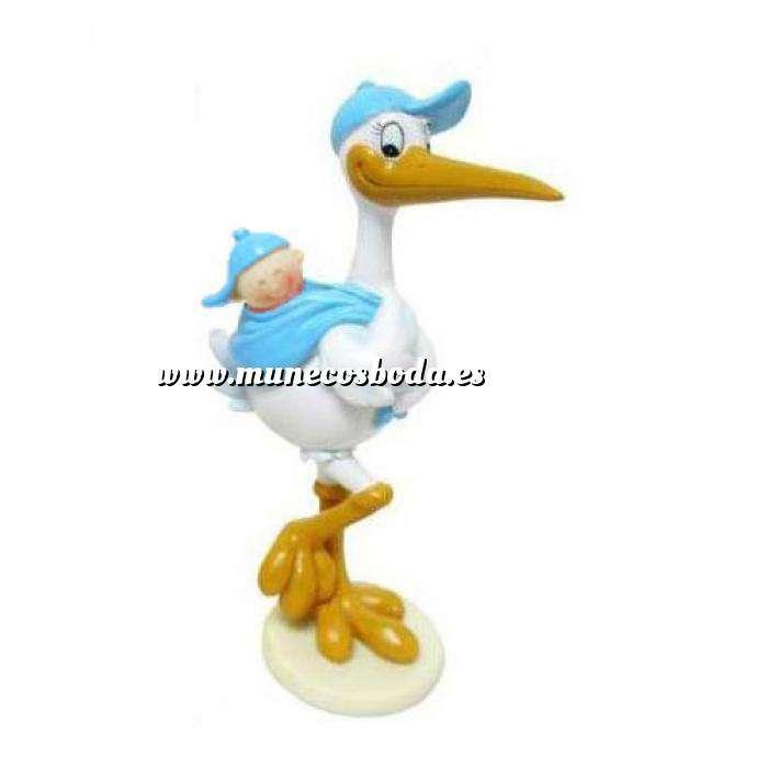Imagen Figuras de Bautizo Cigüeña Azul con Niño en el lomo (Últimas Unidades)