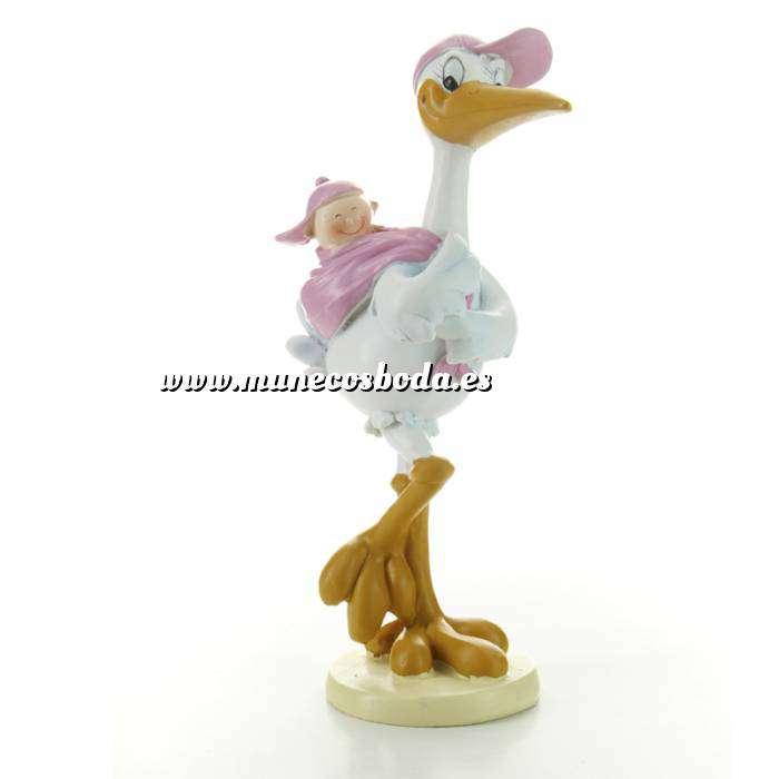 Imagen Figuras de Bautizo Cigüeña Rosa con Niña en el lomo