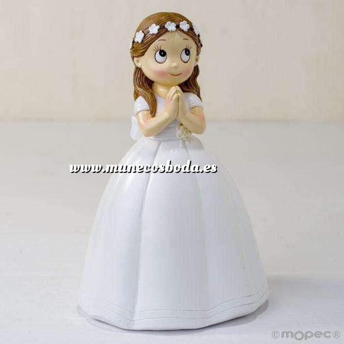 Imagen Figuras de Comunión Figura Pastel comunion niña con vestido largo y corona de flores
