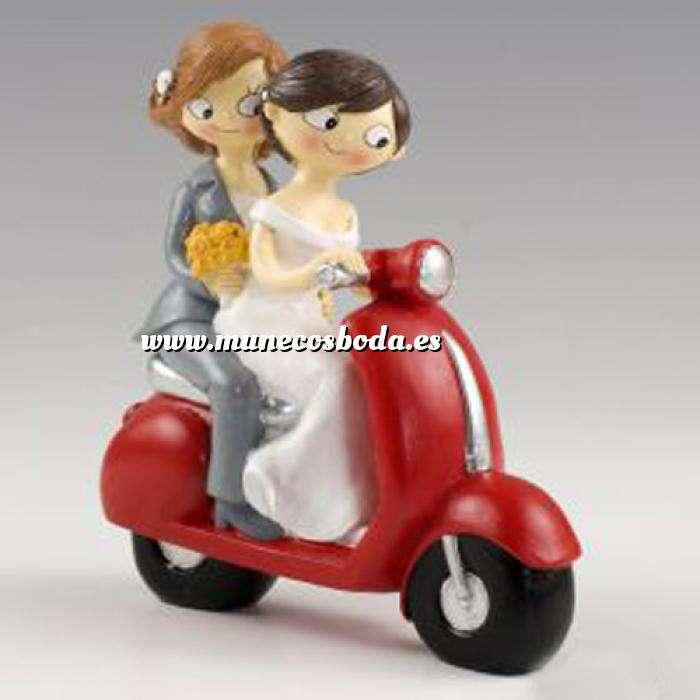 Imagen Novios Tarta Modernos Muñeco Boda 2 Chicas en Moto
