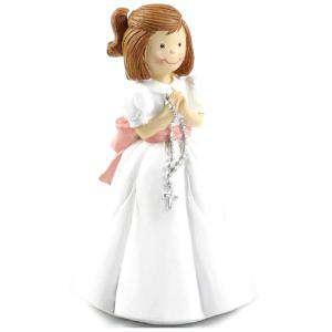 Figuras de Comunión - Figura Tarta Comunión Niña con rosario en la mano (Últimas Unidades)