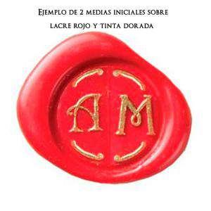 Imagen 2 Iniciales Intercambiables Placa Media Inicial A para sello vacío de lacre