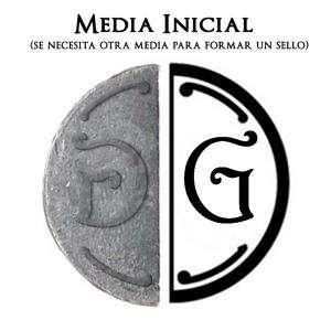 2 Iniciales Intercambiables - Placa Media Inicial G para sello vacío de lacre