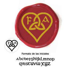 Personalizado con TU diseño - Sello Lacre 2.5 cms. Corazón celta con iniciales