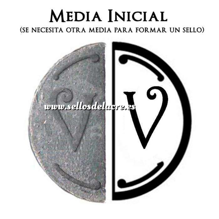 Imagen 2 Iniciales Intercambiables Placa Media Inicial V para sello vacío de lacre