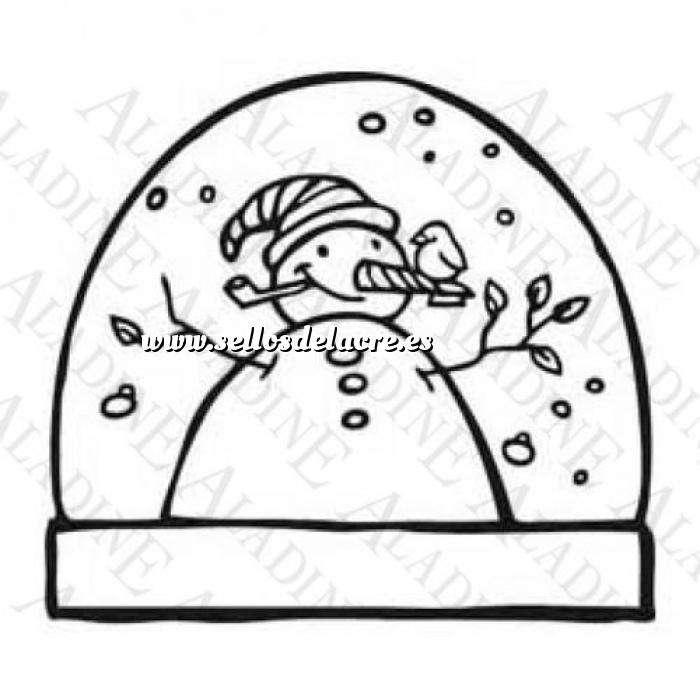 Imagen Decorativos Sello de Caucho - Bola Navideña con un muñeco de nieve (01350) (Últimas Unidades)