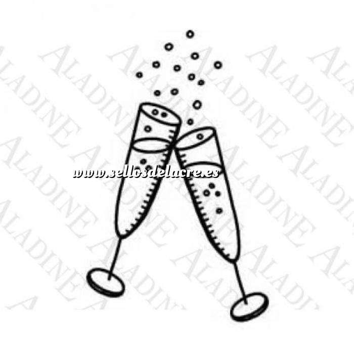Imagen Decorativos Sello de Caucho - Copas de champán (01189) (Últimas Unidades)