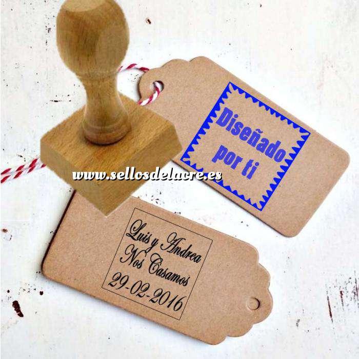 Imagen Personalizado CUADRADO Sello de Caucho CUADRADO 4x4 cm - Personalizado con tu diseño